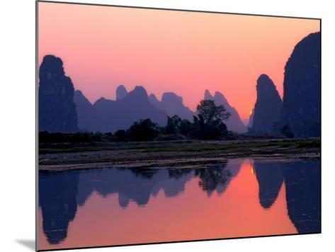 Sunset on the Karst Hills and Li River, China-Keren Su-Mounted Photographic Print