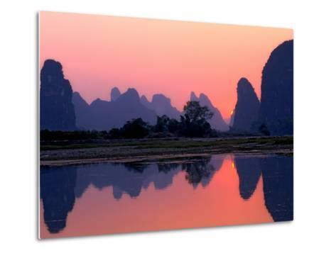 Sunset on the Karst Hills and Li River, China-Keren Su-Metal Print