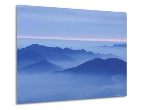 Mountain in Mist at Sunrise, Mt. Huangshan (Yellow Mountain), China-Keren Su-Metal Print