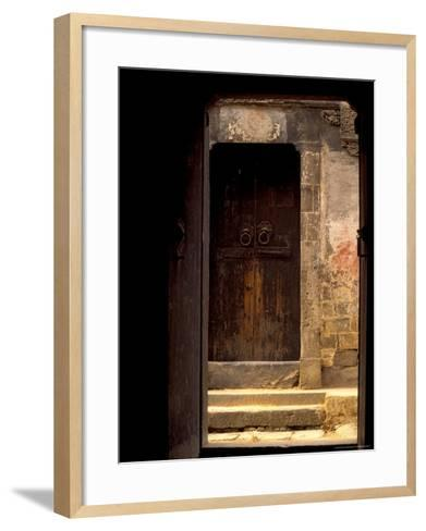 Ancient Gate in Huizhou-styled House, China-Keren Su-Framed Art Print