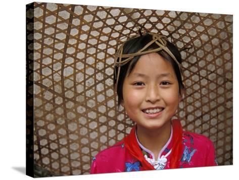 Young Girl Wearing a Straw Hat, Yangtze River, Less Three Gorges, China-Keren Su-Stretched Canvas Print