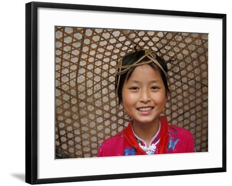 Young Girl Wearing a Straw Hat, Yangtze River, Less Three Gorges, China-Keren Su-Framed Art Print