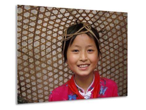 Young Girl Wearing a Straw Hat, Yangtze River, Less Three Gorges, China-Keren Su-Metal Print