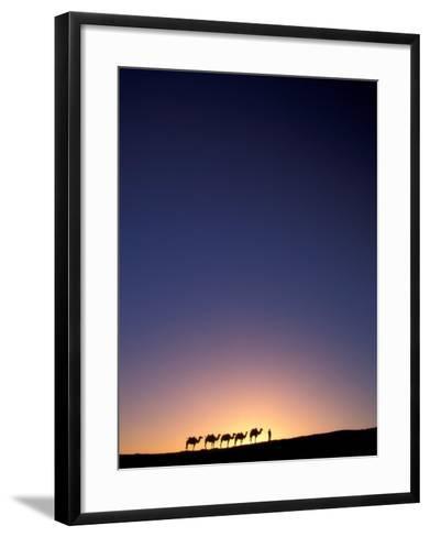 Camel Caravan Silhouette at Dawn, Silk Road, China-Keren Su-Framed Art Print