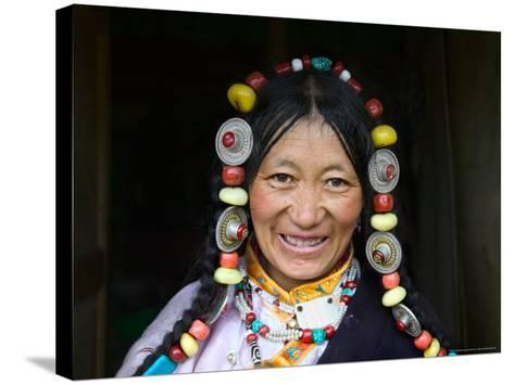 Tibetan Woman, Tibet, China-Keren Su-Stretched Canvas Print