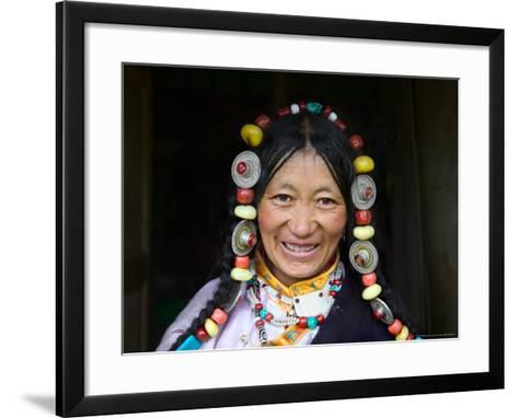 Tibetan Woman, Tibet, China-Keren Su-Framed Art Print