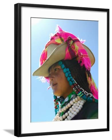 Tibetan Girl, Tibet, China-Keren Su-Framed Art Print