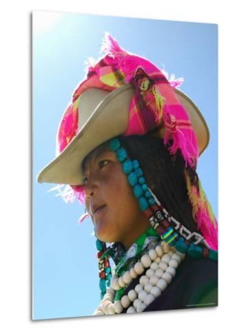 Tibetan Girl, Tibet, China-Keren Su-Metal Print