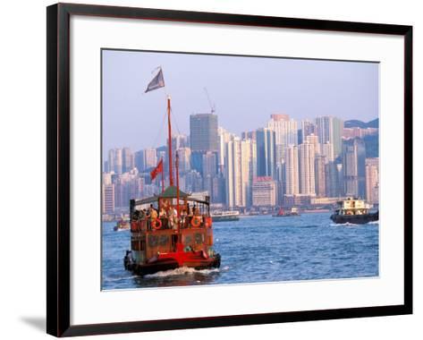 Tourist Boat in Hong Kong Harbor, Hong Kong, China-Paul Souders-Framed Art Print