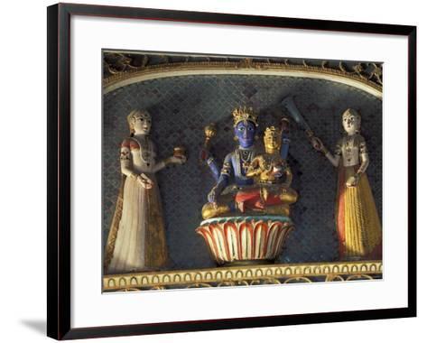 Hindu gods Vishnu and Laxmi in Half Moon Palace, India-John & Lisa Merrill-Framed Art Print