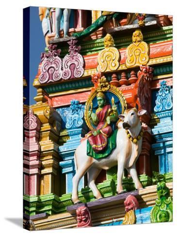 Detail of Dravidian-style Kapaleeshwarar Temple, India-Walter Bibikow-Stretched Canvas Print