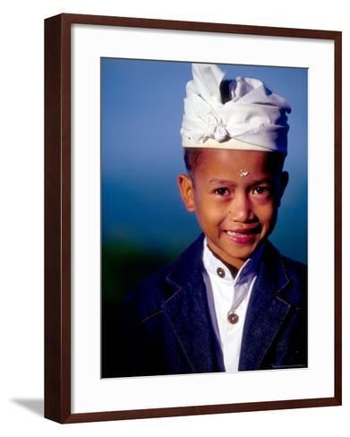 Boy in Formal Dress at Hindu Temple Ceremony, Indonesia-John & Lisa Merrill-Framed Art Print