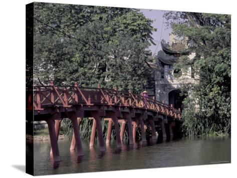 Wooden Bridge, Swan Lake, Hanoi, Vietnam-Keren Su-Stretched Canvas Print
