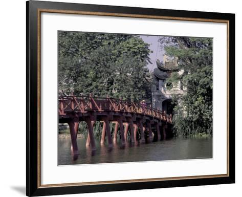 Wooden Bridge, Swan Lake, Hanoi, Vietnam-Keren Su-Framed Art Print