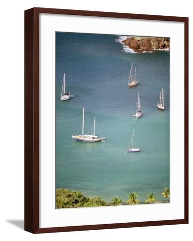 Yachts Anchor in British Harbor, Antigua, Caribbean-Alexander Nesbitt-Framed Art Print