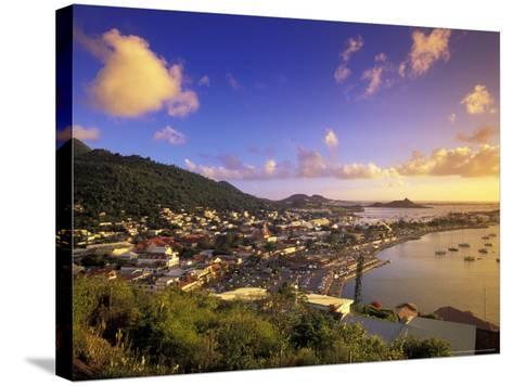 Sunset View of Marigot from Ft Louis, St. Martin, Caribbean-Walter Bibikow-Stretched Canvas Print