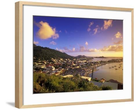 Sunset View of Marigot from Ft Louis, St. Martin, Caribbean-Walter Bibikow-Framed Art Print