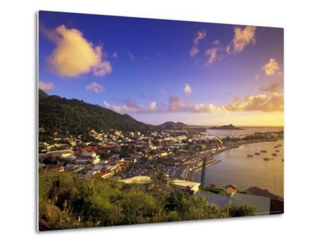 Sunset View of Marigot from Ft Louis, St. Martin, Caribbean-Walter Bibikow-Metal Print