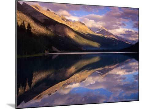 Reflection of Clouds and Mountains on Waterfoul Lake, Banff National Park, Alberta, Canada-Janis Miglavs-Mounted Photographic Print