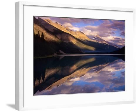 Reflection of Clouds and Mountains on Waterfoul Lake, Banff National Park, Alberta, Canada-Janis Miglavs-Framed Art Print