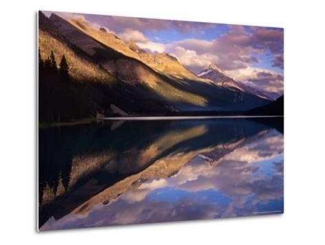 Reflection of Clouds and Mountains on Waterfoul Lake, Banff National Park, Alberta, Canada-Janis Miglavs-Metal Print