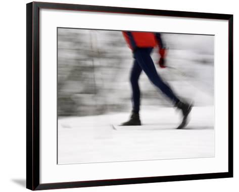 Cross Country Skiing on Spray River Trail, Banff, Alberta-Michele Westmorland-Framed Art Print