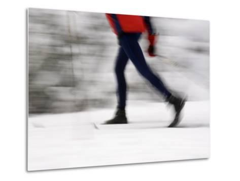 Cross Country Skiing on Spray River Trail, Banff, Alberta-Michele Westmorland-Metal Print
