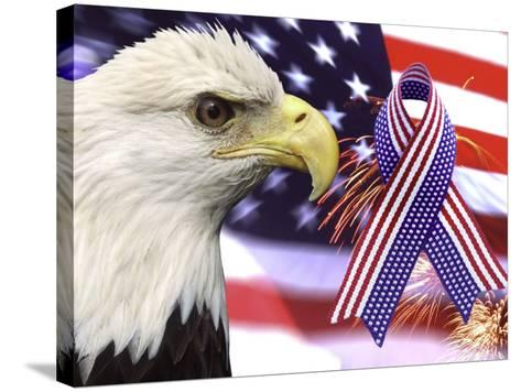 Eagle, Fireworks, Ribbon, and Flag-Bill Bachmann-Stretched Canvas Print