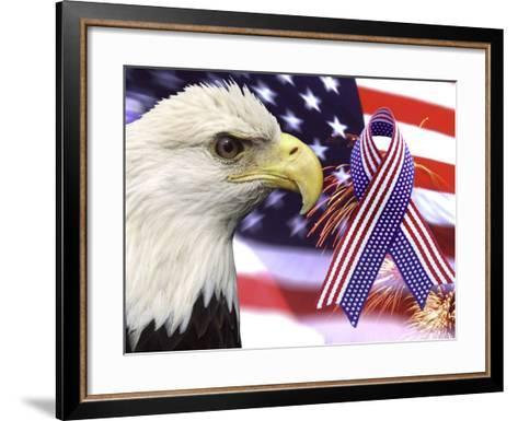 Eagle, Fireworks, Ribbon, and Flag-Bill Bachmann-Framed Art Print