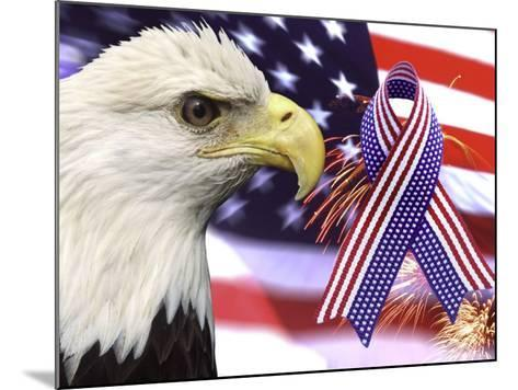 Eagle, Fireworks, Ribbon, and Flag-Bill Bachmann-Mounted Photographic Print