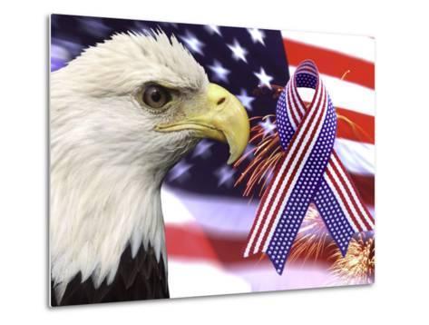 Eagle, Fireworks, Ribbon, and Flag-Bill Bachmann-Metal Print