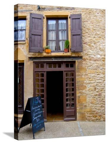 Cafe Menu, Olingt, Burgundy, France-Lisa S^ Engelbrecht-Stretched Canvas Print