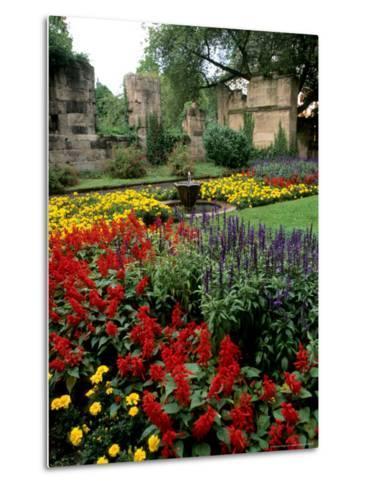 Flower Gardens in Old Town by Rhine River, St Kastor Church, Koblenz, Germany-Bill Bachmann-Metal Print