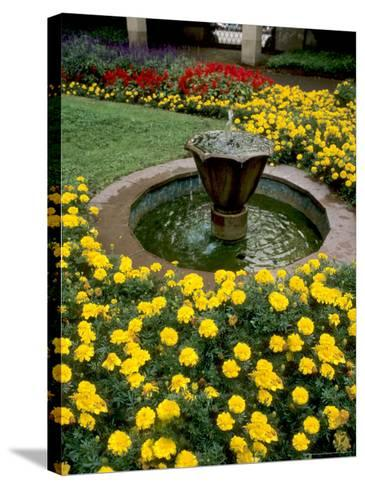 Flower Gardens in Old Town by Rhine River, St Kastor Church, Koblenz, Germany-Bill Bachmann-Stretched Canvas Print