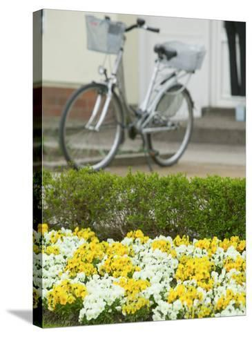 Flowers and Bicycle, Warnemunde, Germany-Russell Young-Stretched Canvas Print