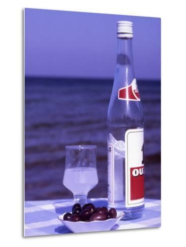 Ouzo and Plate of Black Olives, Greece-Steve Outram-Metal Print
