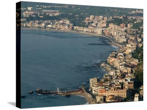 Morning View of Giardini-Naxos Resort, Taormina, Sicily, Italy-Walter Bibikow-Stretched Canvas Print