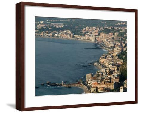 Morning View of Giardini-Naxos Resort, Taormina, Sicily, Italy-Walter Bibikow-Framed Art Print