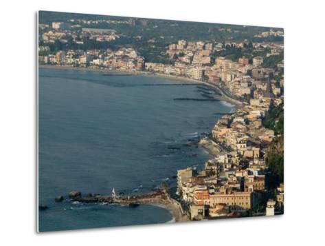Morning View of Giardini-Naxos Resort, Taormina, Sicily, Italy-Walter Bibikow-Metal Print
