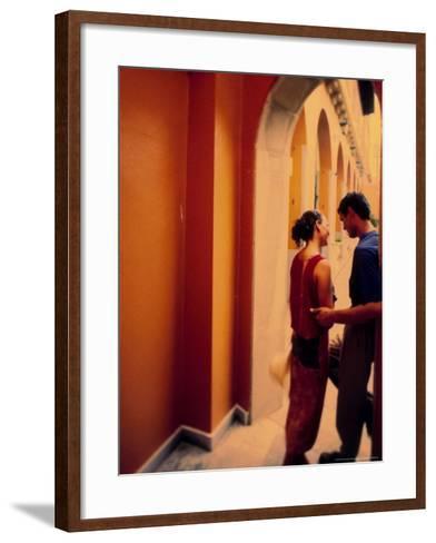 Spanish Couple Outside of Hotel Muncey, Tenerife, Canary Islands, Spain-Stuart Westmoreland-Framed Art Print
