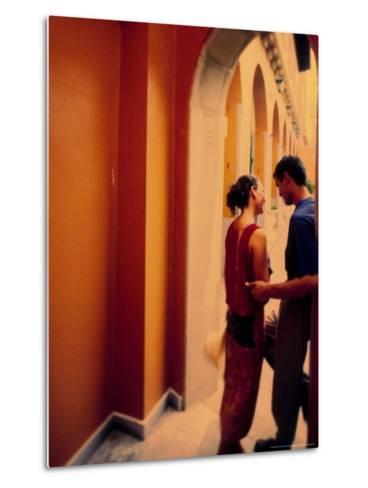 Spanish Couple Outside of Hotel Muncey, Tenerife, Canary Islands, Spain-Stuart Westmoreland-Metal Print