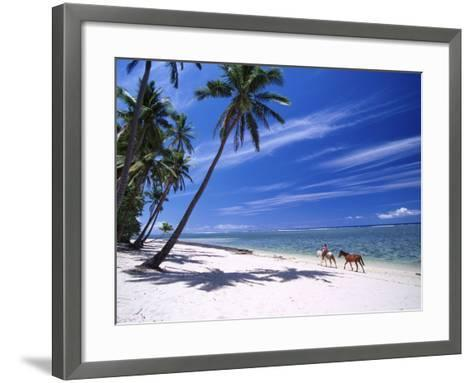Girl on Beach with Coconut Palm Trees, Tambua Sands Resort, Coral Coast, Fiji-David Wall-Framed Art Print