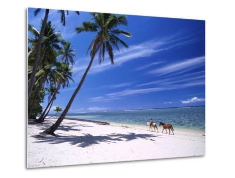 Girl on Beach with Coconut Palm Trees, Tambua Sands Resort, Coral Coast, Fiji-David Wall-Metal Print