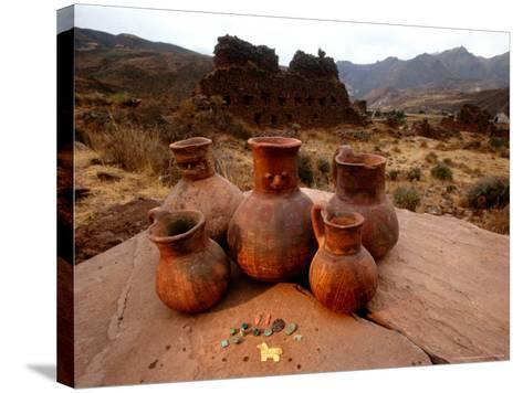Wari Face Neck Jars and Painted Vessels, Cache, Empires of the Sun, Huari, Peru-Kenneth Garrett-Stretched Canvas Print