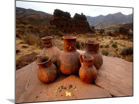 Wari Face Neck Jars and Painted Vessels, Cache, Empires of the Sun, Huari, Peru-Kenneth Garrett-Mounted Photographic Print
