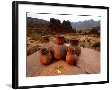 Wari Face Neck Jars and Painted Vessels, Cache, Empires of the Sun, Huari, Peru-Kenneth Garrett-Framed Art Print