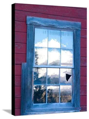 Reflection of the Wrangell Mountains in Copper Mine Window, Kennicott, Alaska, USA-Julie Eggers-Stretched Canvas Print