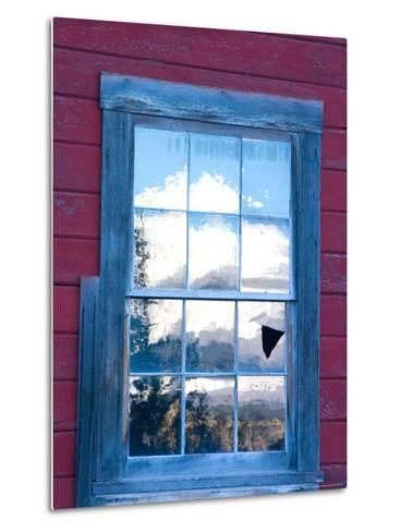 Reflection of the Wrangell Mountains in Copper Mine Window, Kennicott, Alaska, USA-Julie Eggers-Metal Print