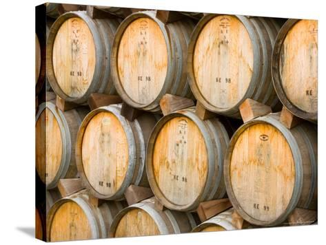 Oak Barrels in Winery, Sonoma Valley, California, USA-Julie Eggers-Stretched Canvas Print