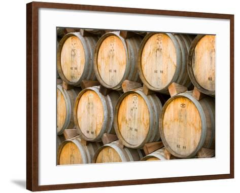 Oak Barrels in Winery, Sonoma Valley, California, USA-Julie Eggers-Framed Art Print